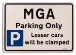 MGA Car Owners Gift| New Parking only Sign | Metal face Brushed Aluminium MGA Model